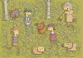 stock photo of pee  - Walking Dogs Maze Game for children with separated isolated layers - JPG