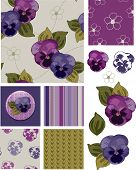 Mother's Day Pansy Flower Seamless Patterns and Icons. Use as fills, digital paper, or print off ont