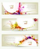 Set of three headers. Abstract artistic floral backgrounds