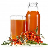 sea buckthorn berries juice on the glass bottle isolated on white background