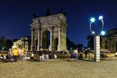 Arch Of Peace In Sempione Park At Night, Milan, Italy