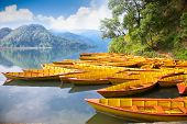 Fishing boat at Bengas lake in Pokhara , Nepal. One of the most beautiful Lakes of Pokhara Valley is