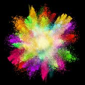stock photo of cosmic  - Launched colorful powder - JPG