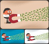 picture of lottery winners  - Cartoon character attracting money with magnet - JPG