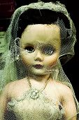 stock photo of baby doll  - Old doll in ripped wedding outfit - JPG