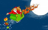 Santa flying in Sledge