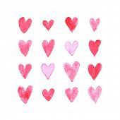 Set of watercolor hearts. Love card with red watercolor hearts. Watercolor sugaring effect.
