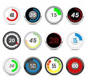 timers set  Twelve different timers. Each timer has twelve positions (5, 10, 15, 20, 25, 30, 35, 40, 45, 50, 55, 60) in hidden layers.