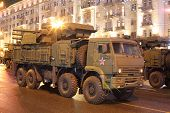 MOSCOW - MAY 3: Russian self-propelled anti-aircraft missile and gun system Pantsir-C1 on rehearsal