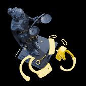 picture of handlock  - Lady of Justice  statue and handcuffs - JPG