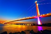 picture of tsing ma bridge  - Sunset at Tsing Ma Bridge - JPG