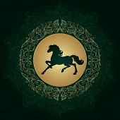 Horse Silhouette On Vintage Floral Background