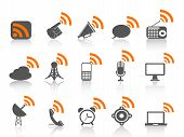 Black Communication Icon With Orange Rss Symbol