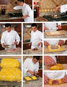 stock photo of beef wellington  - Making beef wellington collage - JPG