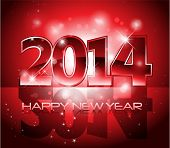 stock photo of midnight  - Vector Happy New Year 2014 red colorful background eps 10 - JPG
