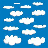 White clouds on blue sky background vector set