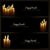 happy diwali indian festival design headers set