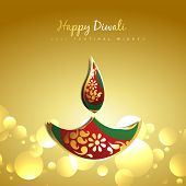 vector diwali golden paisley diya design illustration