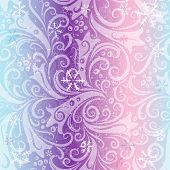 stock photo of lilas  - Seamless striped christmas pattern with translucent vintage curls and snowflakes  - JPG