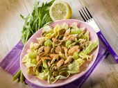 chicken salad with lettuce celery paprika and olives