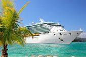 stock photo of cruise ship caribbean  - Luxury Cruise Ship Sailing from a Port  - JPG
