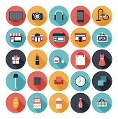 Flache Shopping Icons Set