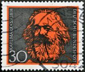Germany - Circa 1968: A Stamp Printed In Germany Shows Karl Marx, Circa 1968