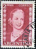 Argentina - Circa 1948 : A Stamp Printed In Argentina Shows Eva Peron, Circa 1948