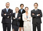Group of managers with taped mouths and their hands crossed, isolated on white. Concept of slavery a