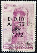 Chile - Circa 1965: A Stamp Printed In Chile Shows A Moai Of Easter Island, Circa 1965