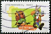 France - Circa 2009: A Stamp Printed In France Shows Bugs Bunny And Daffy Duck As Scouts, Circa 2009