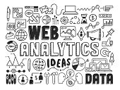 picture of measurement  - Hand drawn vector illustration icons set of web analytics and ideas in optimization of website search information doodles elements - JPG