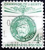 stamp printed by United states shows Garibaldi Italian patriot and freedom fighter
