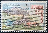 Usa - Circa 1964: A Stamp Printed In The Usa Shows Nevada Statehood, 1864-1964, Circa 1964