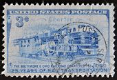 A stamp printed in the USA dedicated to 125 years of rail transportation