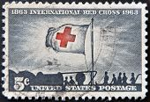 Stock Photo:   United States - Circa 1943: Stamp Printed By United States, Shows Flag Of Red Cross
