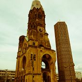 Retro Looking Bombed Church, Berlin