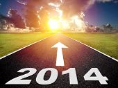 Road To The 2014 New Year And  Sunrise Background