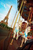 foto of merry-go-round  - View of the Eiffel Tower and the merry-go-round