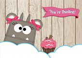 Cute monster with cupcake invitation