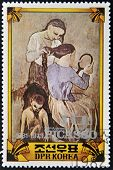Stamp Commemorating The 100 Anniversary Of The birth of Picasso shows the painting