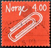A stamp printed in Norway honoring Norwegian Inventions Self-adhesive Paper clip (Johan Vaaler)