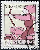 Poland - Circa 1996: A Stamp Printed In The Poland, Shows A Sign Of The Zodiac, Sagittarius
