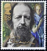 a stamp printed in the Great Britain shows Alfred Lord Tennyson centenary of death