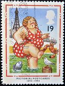 A Stamp Printed In Great Britain Shows Bather At Blackpool (pictorial Postcards 1894-1994)