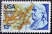United States - Circa 1976: Stamp Printed By United States, Shows Benjamin Franklin, Circa 1976