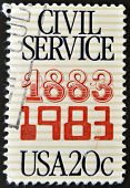 A stamp printed in the USA commemorates the 100th anniversary of the Civil Service