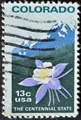 stamp printed in USA shows Colombine flower and Rocky Mountain
