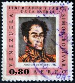 Venezuela - Circa 1966: A Stamp Printed In Venezuela, Shows Portrait Simon Bolivar