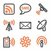 Communication Web Icons, Orange And Gray Contour Series